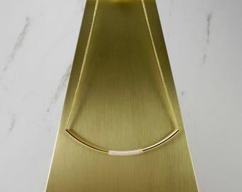 Brass Curved tube necklace, Gold plated brass, brass jewelry, brass necklace, minimal neckalce, simple necklace, gold plated brass