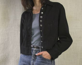 90s lightweight black denim cropped jacket / engraved silver buttons / button up denim top / 90s boxy jacket / small medium