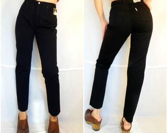 Mom jeans black cigarette pants high waisted pants for women high waist denim dead stock vintage 90s size Medium 27 inch