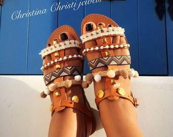 Greek Sandals, Greek Leather Sandals, Gladiator Sandals, Ethnic Sandals, Made in Greece from 100% Genuine Leather.