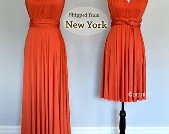 Burnt Orange party dresses, convertible wrap dress, formal dress, infinity convertible dress, short multi wear dress, twist wrap dress long