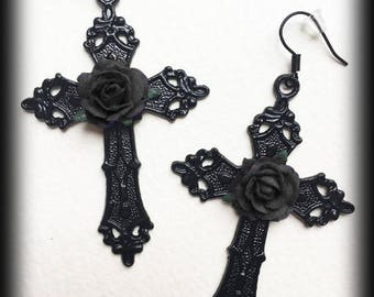 Gothic Cross Earrings With Black Roses, Black Cross Earrings, Alternative Jewelry, Gothic Jewelry Gift, Gothic Wedding, Romantic Jewelry