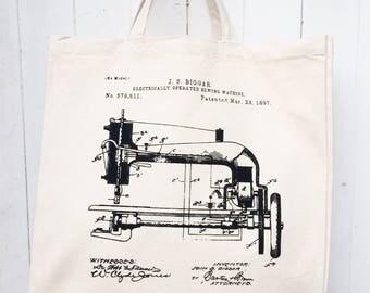 Hand Screen Printed Vintage Sewing Machine Patent Illustration Design Cotton Canvas Tote Bag Shoulder Bag Craft Bag Grocery Bag Reusable