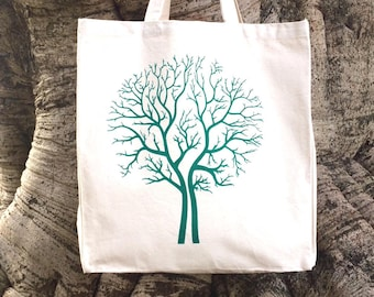 Hand Screen Printed Tree Design Cotton Canvas Tote Bag Shoulder Bag Beach Bag Grocery Bag Natural Reusable