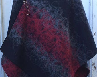 Womens Handmade Felt Look Wrap Poncho Shawl Cape Black with Red and Grey Decorative Stitch Wool Polyester