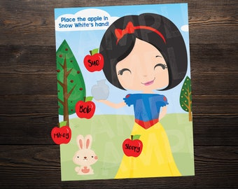 Snow White Princess Birthday Party Game // Place the apple in the hand  // High Resolution Digital Download JPEG & PDF