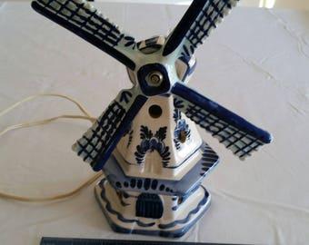antique holland windmill delft blue porcelain ceramic night light hand painted - signed art statue figurine - home lighting nightlight