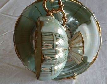 vintage iridescent 1950 's footed green lusterware teacup & saucer set - ribbed sides scalloped rims gold trim - opalescent antique art deco