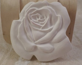 White 3 Piece Set Ready to Paint Plaster of Paris 2 1/2 Inch Rose with 2  1/2 Inch Leaves