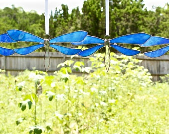 Turquoise Marbled Stained Glass Dragonfly Suncatcher