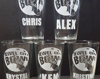 16 ounce Pint Glass with Custom Logo and Text