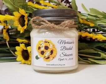 Bridal Shower Favors - 8oz Bridal Shower Candles - Soy Candles Handmade - Rustic Wedding - Sunflower Theme - Bridal Shower Prizes
