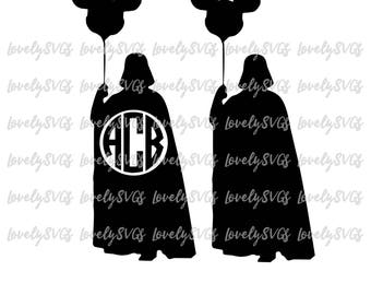 Instant Download SVG Studio3 - Darth Vader with Balloon Mickey - Silhouette Cricut - Monogram