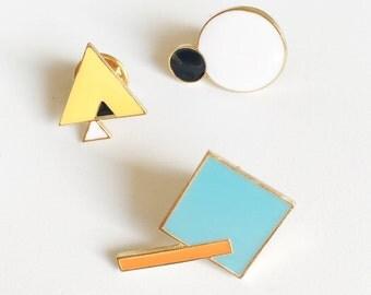 Abstrait géométrique formes émail broches Geometrique Set / minimaliste Emaille Pin Set / coloré carré Triangle Cercle Art émail Pin Set