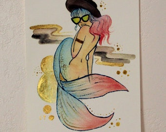 Hipster Mermaid // Hand Embellished Print
