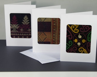 Handmade Ethnic Embroidery Textile Card Set of 3