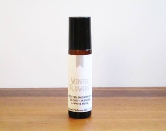 WINTER FLOWERS / Frosted Snowdrops Ozone Jasmine White Musk / Season Inspired / Winter Collection / Roll-On Perfume Oil