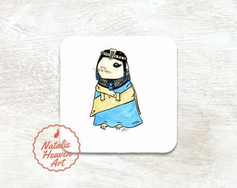 Guinea Pig Coaster Customisable Gift for Friend, Personalised Coaster Wooden, Drinks Coaster Guinea Pig Gift, Art Egyptian Gifts Egypt Decor