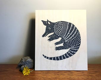 Limited Edition Screenprinted Wall Plaque : Armadillo