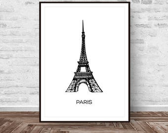 Eiffel Tower Print, Eiffel Tower Decor, Paris Printable, Eiffel Tower Paris, Paris Print, French Decor, Large Wall Art Printable Art
