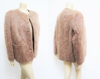 Vintage Jacket, UK14, Shaggy, 1950s, 1960, 1970s, Vintage Fashion, Mohair, Wool, Lady, Feminine, Winter, Autumn, Short Jacket, Vintage