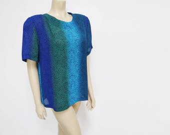 Vintage Top, UK16, Ladies Vintage, Blue Top, Eveningwear, Boho Top, Vintage Clothing, Women's Clothing, Clothes, Tops, Tunic, Tie Dye
