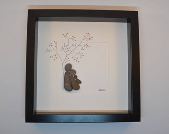 Couple with New Baby Pebble Art, Newborn and Couple Pebble Art, New Family Pebbleart Picture, Baby Shower Gift