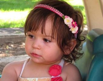 Pink Flower Headbands - Baby Girl Headbands, Toddler Girl Headbands, Flower Girl Headbands, Pink Baby Girl Headband, Baby Headbands