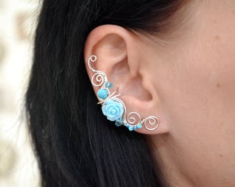 Blue earcuffs Summer earrings Floral earrings Silver earcuff Turquoise earrings Earcuff non pierced Pair ear cuffs Unique earrings Ear wraps
