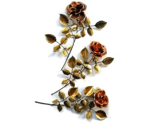 Vintage METAL WALL ART 1970s Metal Sculpture Rose One Copper & Brass Metal Rose 3D Wall Decor or Crafting One Rose 3 Available