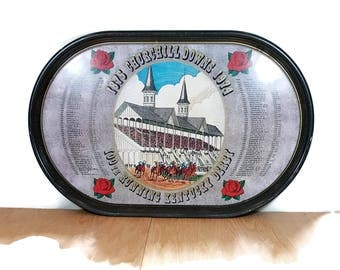 """KENTUCKY DERBY TRAY 1974 Churchill Downs Tray Horse Race Collectible Large Serving Tray 21"""" Historic Commemorative 100th Anniversary Tray"""