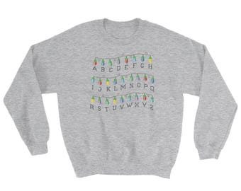 Stranger Things Ugly Christmas Sweater | Unisex Sweatshirt | Alphabet Christmas Lights |