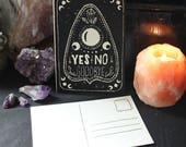 "Handmade Linoprint Postcard ""Ouija Planchette"""