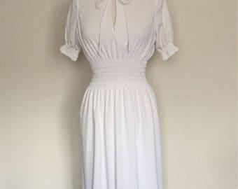 1970s White Boho Style Maxi Dress Vintage