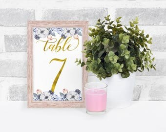 Gold Foil Table Number, Foil Table Number, Floral Table Number, Floral Wedding Table Numbers, Wedding Table Numbers, Table Number Cards