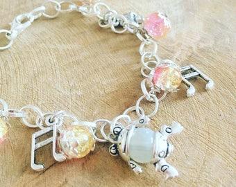"Charm bracelet ""musical frog Rose"""