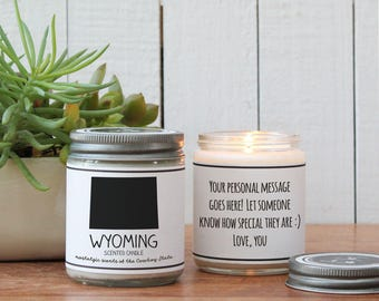 Wyoming Scented Candle - Homesick Gift | Missing Home Gift | State Scented Candle | Moving Gift | College Student Gift | State Candles