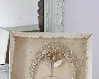 Beautiful antique French waxed flower crown in original box