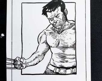 Hugh Jackman, Wolverine Sketch - Original art by Bryan E. West