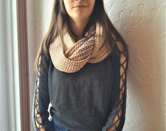 Infinity scarf shades of beige, two laps, multi-tone scarf, perfect for the winter scarf knitted by hand