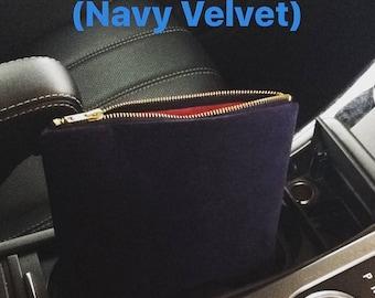 Navy Blue Velvet Clutch Bag