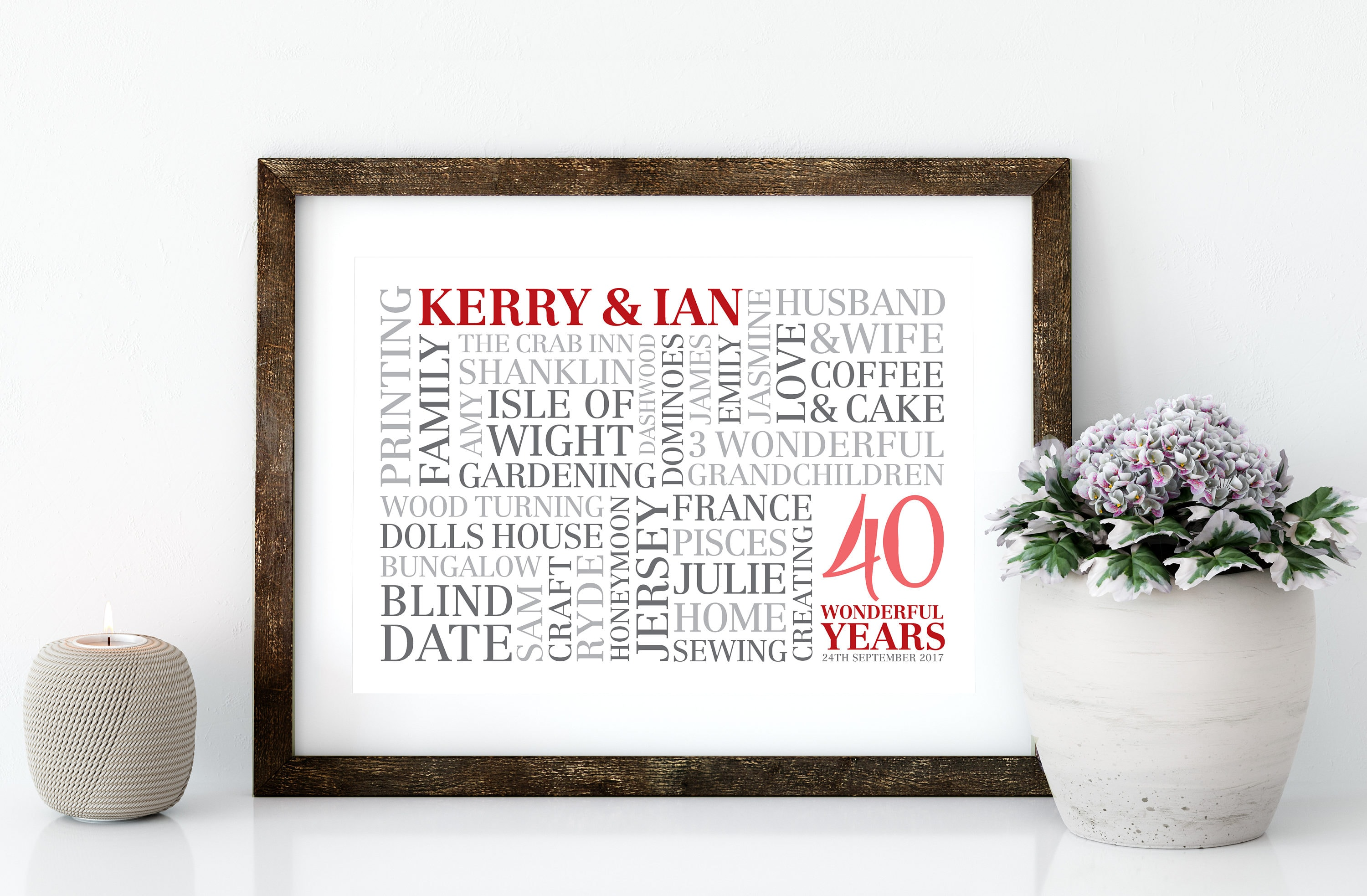 Unique Ruby Wedding Anniversary Gifts: Ruby Wedding Word Art Word Cloud PRINTED Poster