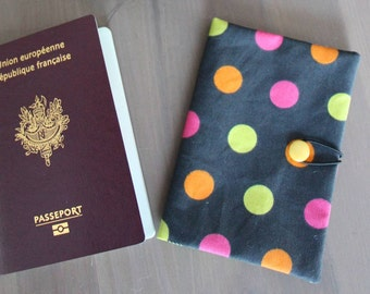 Black Passport cover with multicolored dots