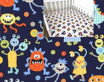 Cotton Monsters Fitted Crib Sheet Monsters Crib Sheet Monsters Crib Bedding Toddler Bedding Monsters Changing Pad Cover