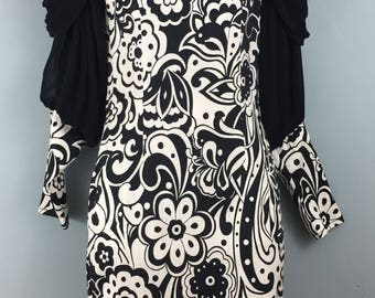 Amazing vintage CREATIONS monochrome fitted dress 8/10 Party prom Black White