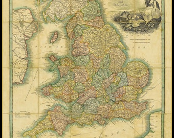 Brookes Map of England & Wales - 1820 reproduction hand-laid on canvas