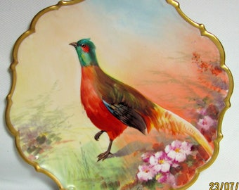 """Handpainted LIMOGES FLAMBEAU PHEASANT Game Plate Charger 10.75"""" Puloj or Puloy"""