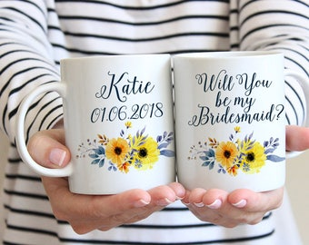 "Will You be my Bridesmaid - Bridesmaid Gift - Bridesmaid Proposal Bridesmaid Mug Watercolor Floral Mug ""Country Bouquet"" Watercolor Mug Gift"