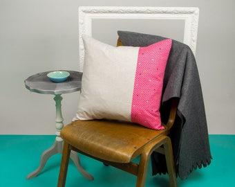 Cream and Pink Geometric Cushion