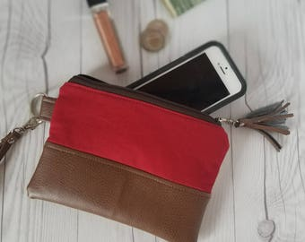 Tan Red Wristlet - Wristlet Wallet - Womens Wallet - Faux Leather - Small Crossbody - Phone Wallet - Wristlet Purse - Bridesmaid Gift